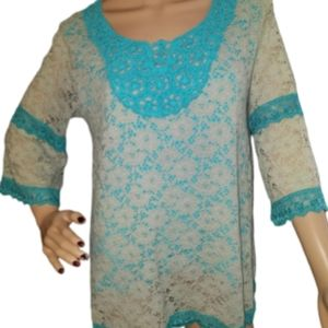 VTG L & B Western Turquoise Embroidered Lace Shirt
